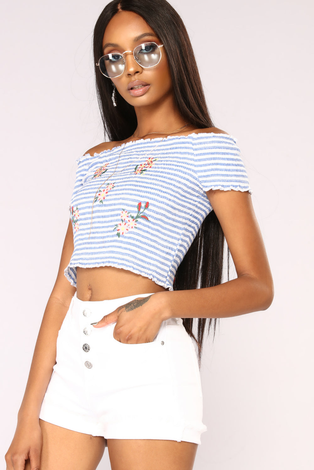 Such A Cutie Smocked Top - Blue/White