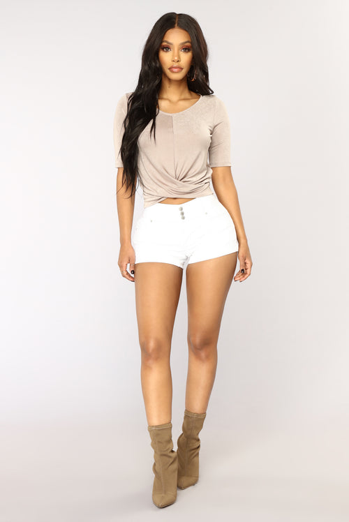 Plain And Simple Denim Shorts - White