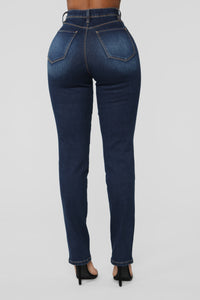 Nina High Rise Straight Jeans - Dark Denim