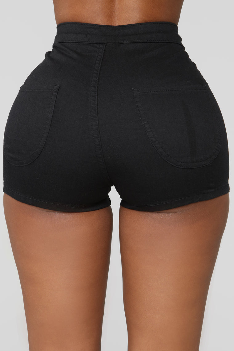Won't Stop Denim Shorts - Black