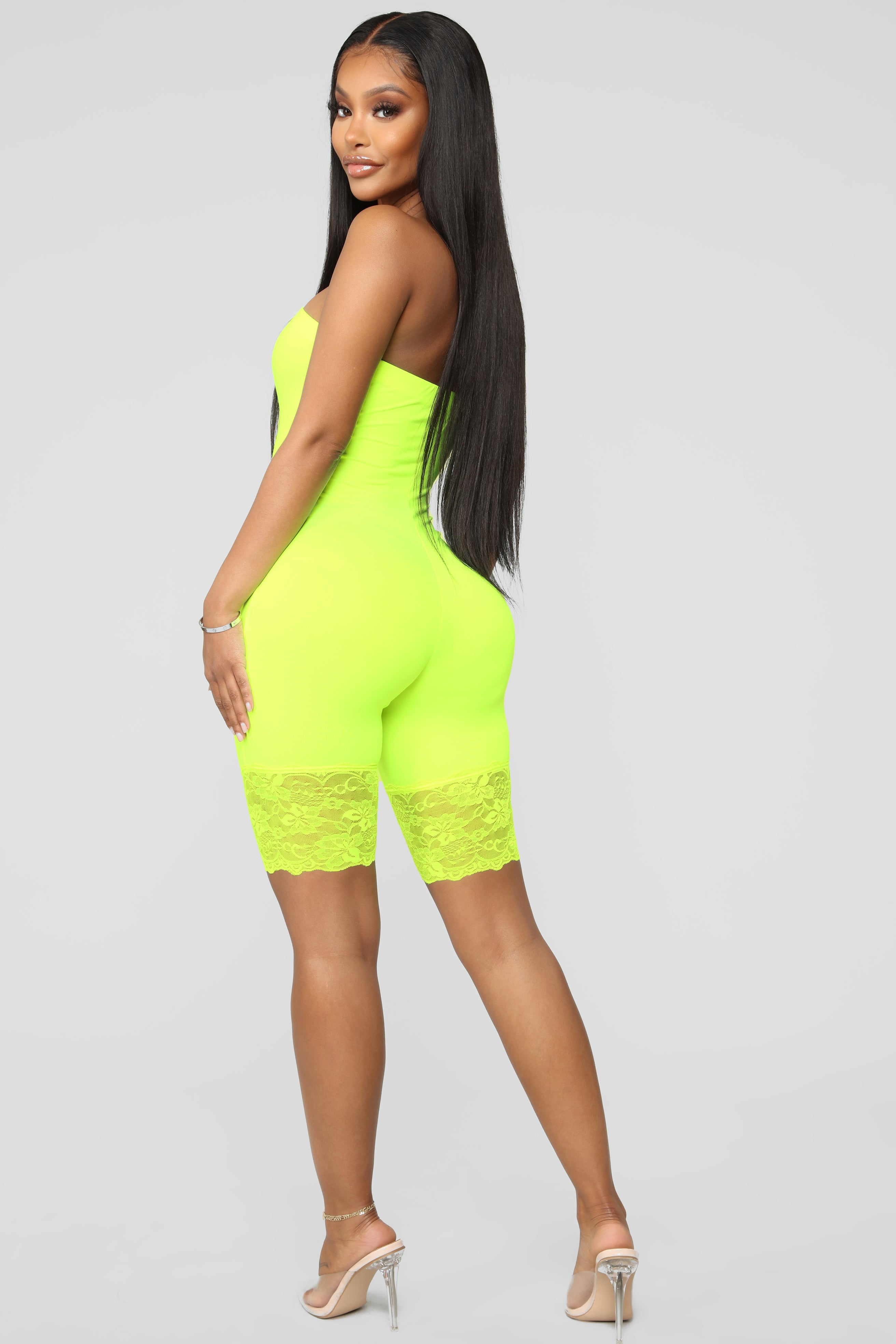 91533428a2c Lace To The End Biker Romper - Neon Yellow
