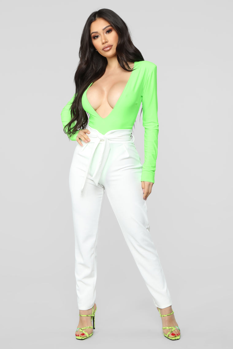 Follow Me Bodysuit - Neon Lime