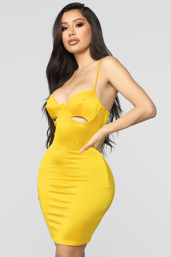 fdcb2a1f222b9 Don't Hide From Me Satin Mini Dress - Yellow