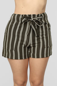 Summer Breeze Striped Shorts - Olive/White Angle 1