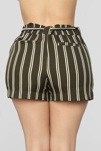 Summer Breeze Striped Shorts - Olive/White Angle 5