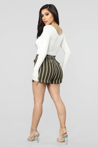Summer Breeze Striped Shorts - Olive/White Angle 4
