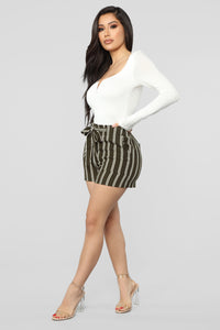 Summer Breeze Striped Shorts - Olive/White Angle 6