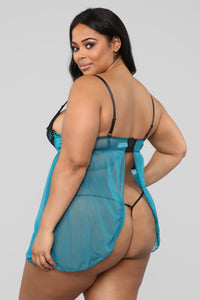 Lie To My Love Lace Babydoll - Blue/Black