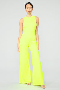Miami's Finest Jumpsuit- Neon Green Angle 1