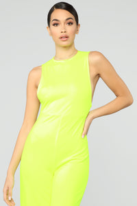 Miami's Finest Jumpsuit- Neon Green Angle 2