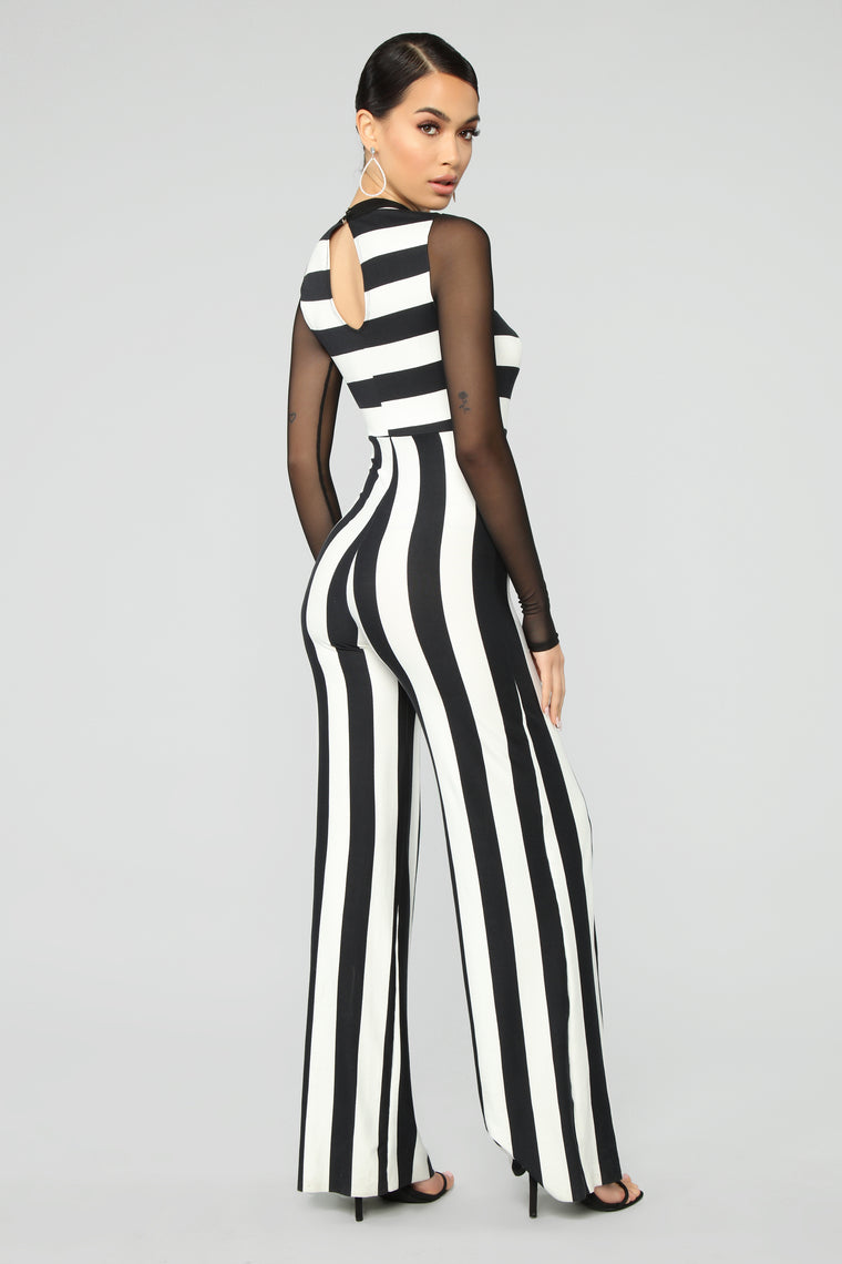 All Up To You Stripe Jumpsuit - Black/White