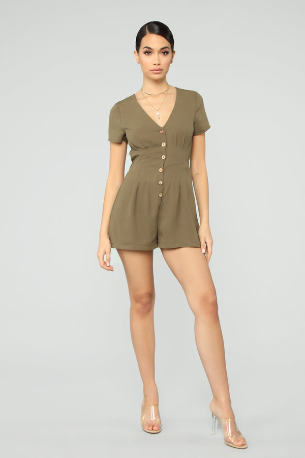 53f4d9f2315 Fair Game Cinched Romper - Olive