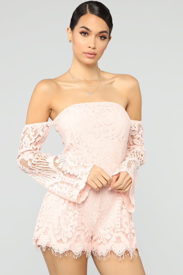 03d26a8f3513 Lace With Luxury Romper - Blush