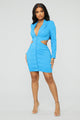 Making Business Moves Mini Dress - Blue