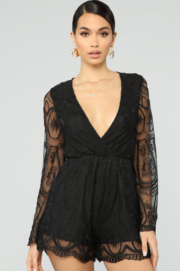 da94c6feb410 Oh So Darling Embroidered Romper - Black