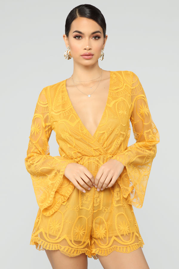 218074c953b Oh So Darling Embroidered Romper - Mustard