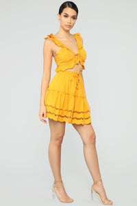 Ready For Some Fun Skort Set - Mustard Angle 3