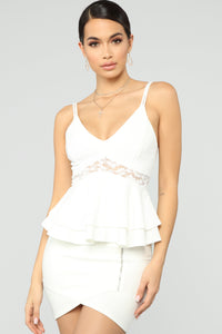 Lace And Grace Peplum Top - White Angle 1