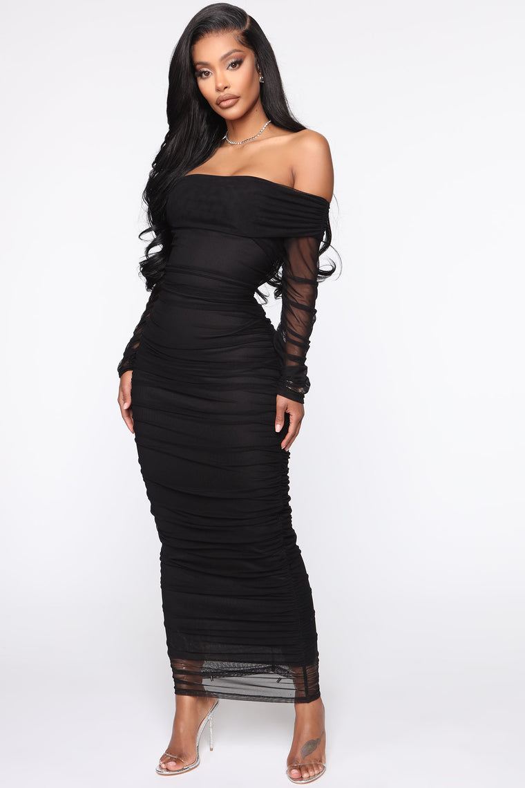 Top Trend Ruched Maxi Dress - Black