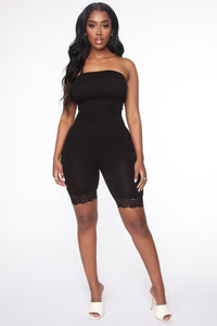 Timeless Lace Trim Romper - Black Angle 1