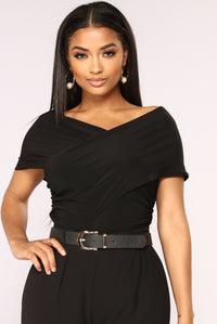 One Chic Chick Surplice Bodysuit - Black Angle 3
