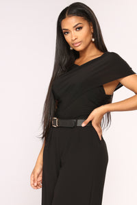 One Chic Chick Surplice Bodysuit - Black Angle 4