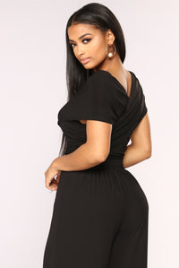 One Chic Chick Surplice Bodysuit - Black Angle 6