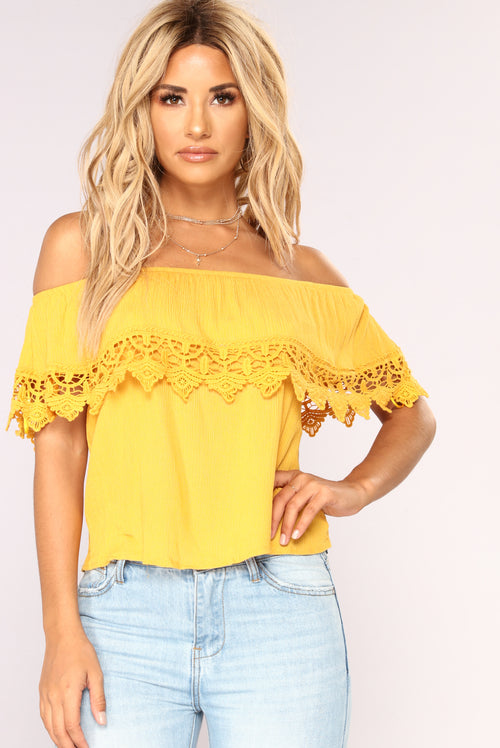 Lost In The Lace Top - Mustard