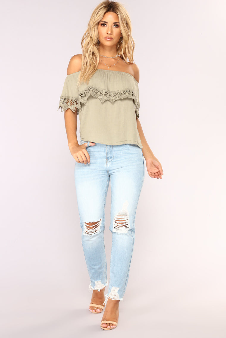 Lost In The Lace Top - Sage