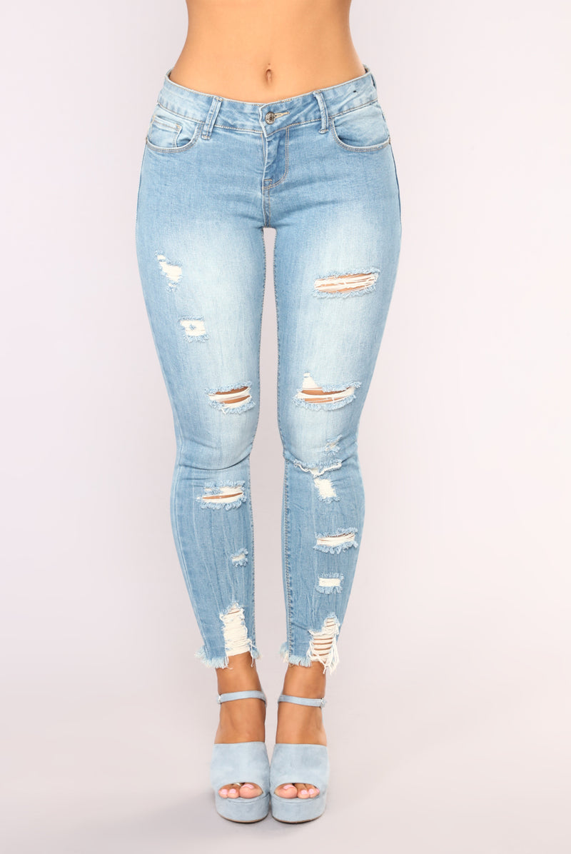 The Boy Is Mine Ankle Jeans  - Light Blue Wash