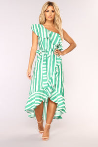 Itzel Striped Dress - Ivory/Green Angle 1