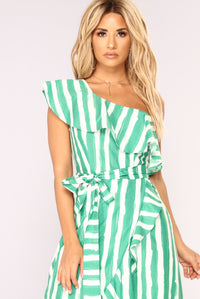 Itzel Striped Dress - Ivory/Green Angle 2