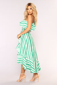 Itzel Striped Dress - Ivory/Green Angle 3