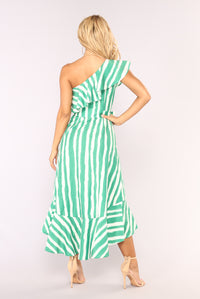Itzel Striped Dress - Ivory/Green Angle 4