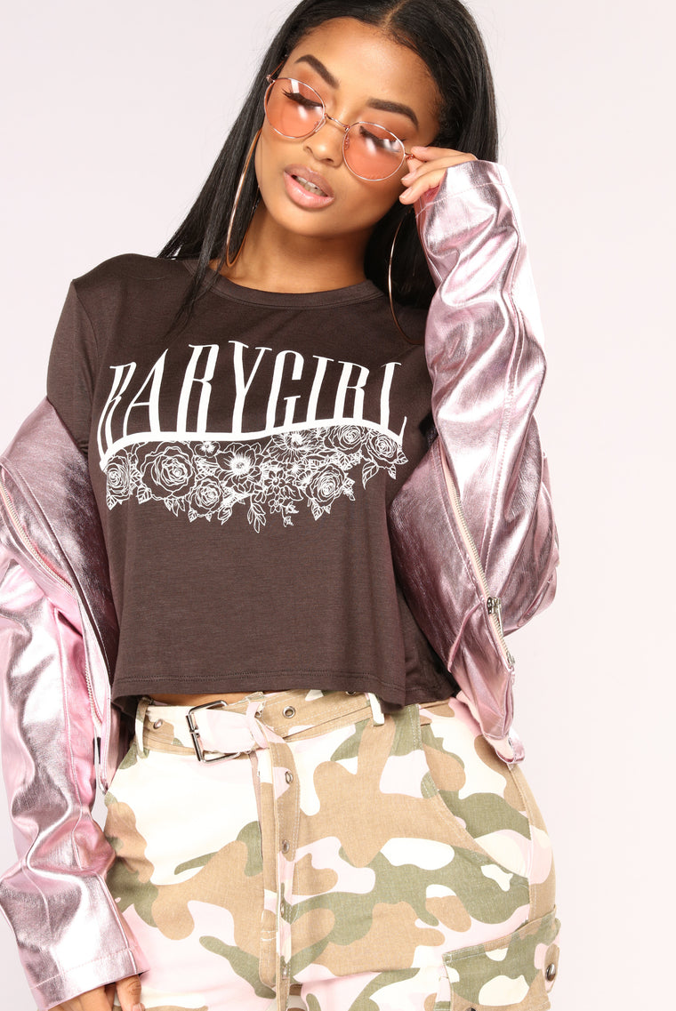 He Calls Me Baby Girl Crop Top - Black