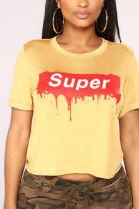 Super Paint Drip Crop Top - Mustard