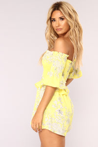 Oia Sunset Floral Romper - Yellow
