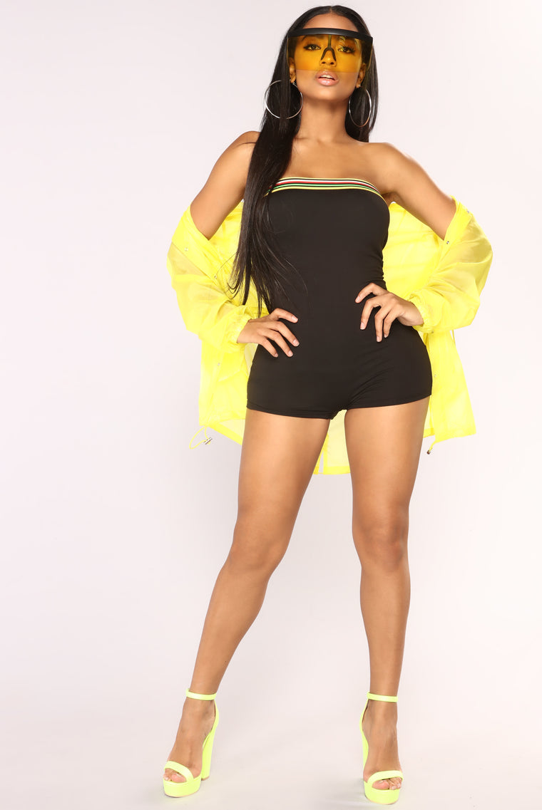 Jamaican Me Crazy Tube Romper - Black