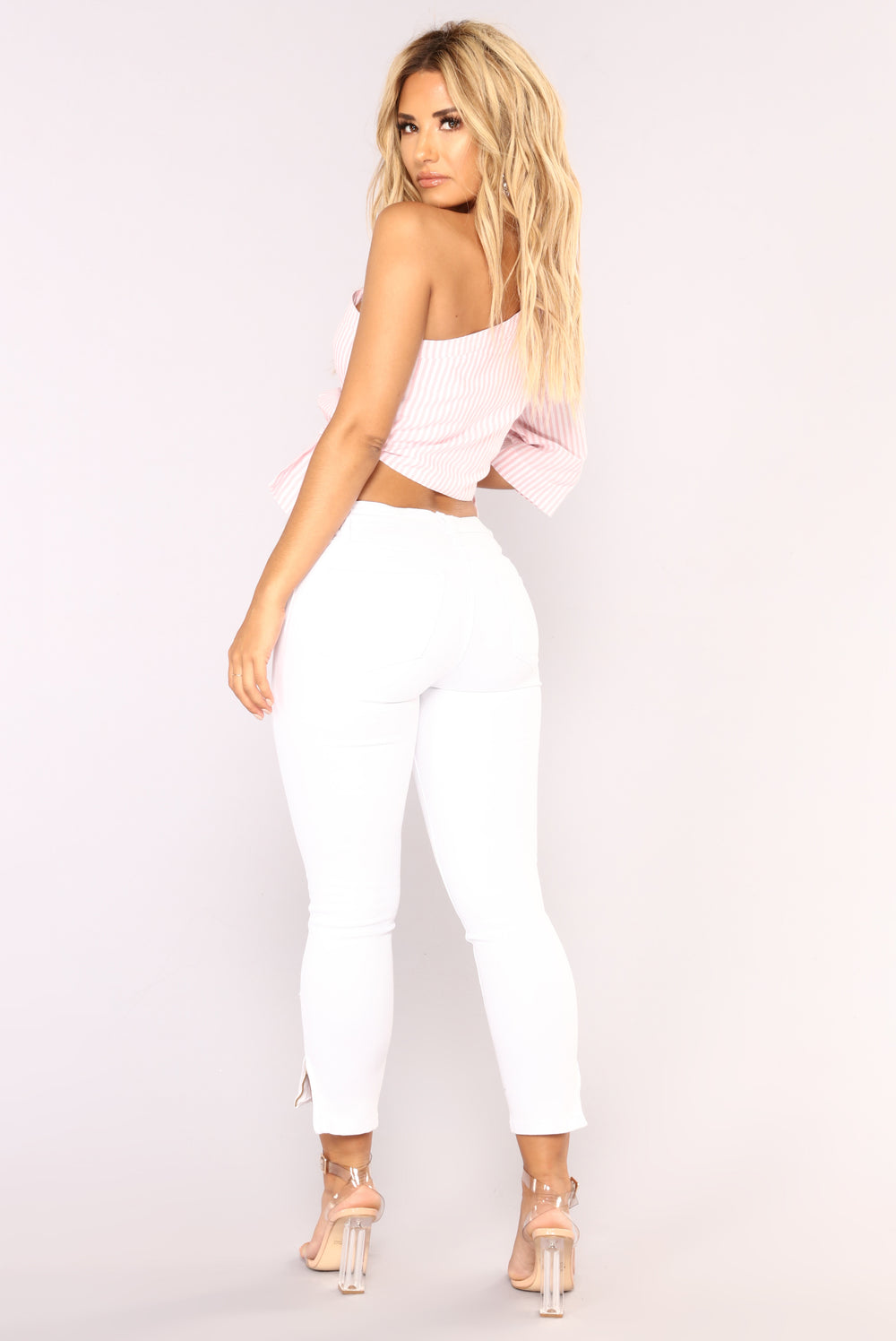 Change It Up One Shoulder Top - Blush/White