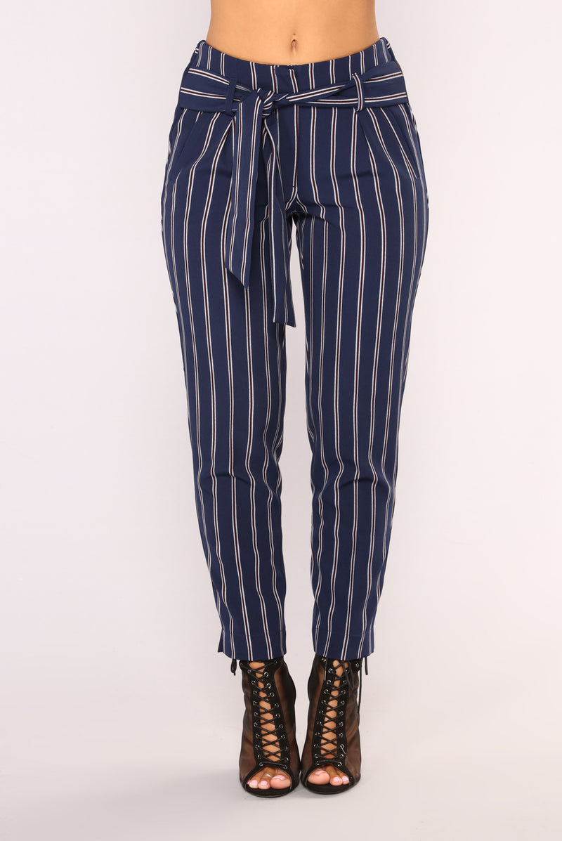 Veronica Striped Pants - Navy Stripe