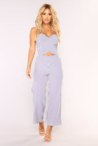 Harbor Island Culotte Jumpsuit - White/Blue
