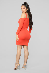 Head In The Clouds Sweater Dress - Tomato Red Angle 4