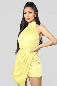 Own Your Class Satin Halter Romper - Yellow