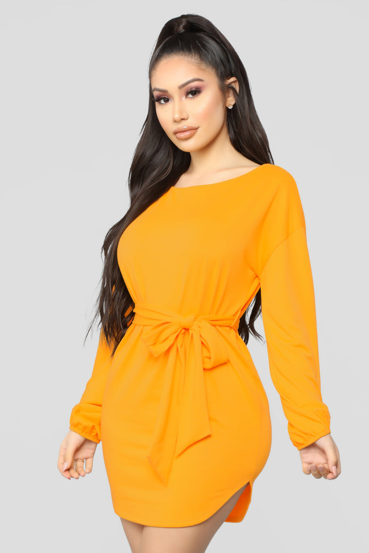 Cute And Cozy Mini Dress - Yellow