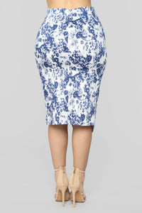 Floral Fiesta Skirt Set - Blue/White
