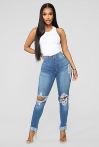 Back To It Ankle Jeans - Medium Blue Wash Angle 2