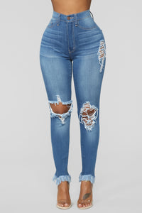 Back To It Ankle Jeans - Medium Blue Wash Angle 1