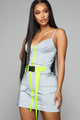 Fasten Up Reflective Skirt Set - Grey/Neon Yellow