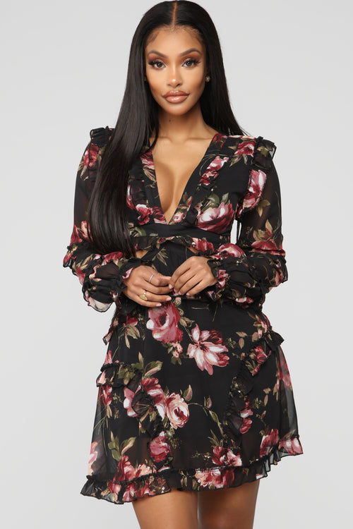 Flower You Anywhere Floral Mini Dress - Black/Combo