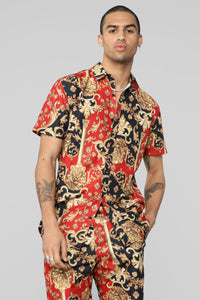 Giovanni Pool Side Short Sleeve Woven Shirt - Red Combo